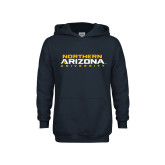 Youth Navy Fleece Hoodie-Northern Arizona University Stacked