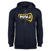 Navy Fleece Full Zip Hoodie-NAU Lumberjacks