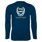 Performance Navy Longsleeve Shirt-Football Helmet Design