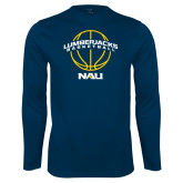 Performance Navy Longsleeve Shirt-Basketball Ball Design