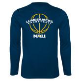 Syntrel Performance Navy Longsleeve Shirt-Basketball Ball Design