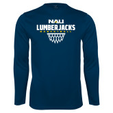 Performance Navy Longsleeve Shirt-Basketball Net Design