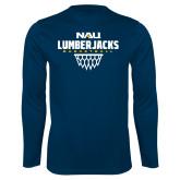 Syntrel Performance Navy Longsleeve Shirt-Basketball Net Design