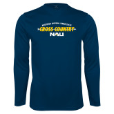 Performance Navy Longsleeve Shirt-Cross Country Arrow Design