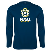 Performance Navy Longsleeve Shirt-Soccer Ball Design