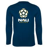 Syntrel Performance Navy Longsleeve Shirt-Soccer Ball Design