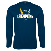 Performance Navy Longsleeve Shirt-NCAA Division I Mens Cross Country Champions
