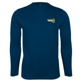 Performance Navy Longsleeve Shirt-NAU Primary Mark