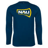 Performance Navy Longsleeve Shirt-NAU Lumberjacks