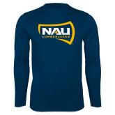 Syntrel Performance Navy Longsleeve Shirt-NAU Lumberjacks
