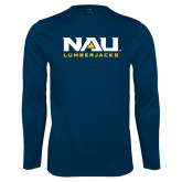Performance Navy Longsleeve Shirt-NAU Lumberjacks Stacked