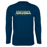 Performance Navy Longsleeve Shirt-Northern Arizona University Stacked