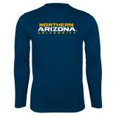 Syntrel Performance Navy Longsleeve Shirt-Northern Arizona University Stacked