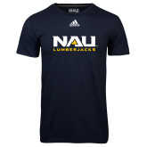 Adidas Climalite Navy Ultimate Performance Tee-NAU Lumberjacks Stacked