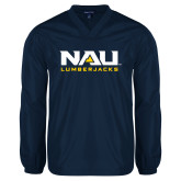 V Neck Navy Raglan Windshirt-NAU Lumberjacks Stacked