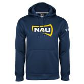 Under Armour Navy Performance Sweats Team Hood-NAU Primary Mark