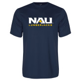 Performance Navy Tee-NAU Lumberjacks Stacked