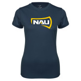 Ladies Syntrel Performance Navy Tee-NAU Primary Mark
