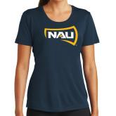 Ladies Syntrel Performance Navy Tee-NAU Primary Mark