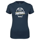 Ladies Syntrel Performance Navy Tee-Football Design
