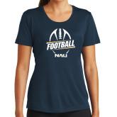 Ladies Syntrel Performance Navy Tee-Football Design