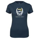 Ladies Syntrel Performance Navy Tee-Football Helmet Design
