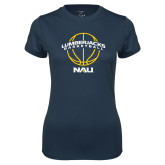 Ladies Syntrel Performance Navy Tee-Basketball Ball Design
