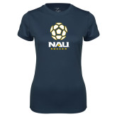 Ladies Syntrel Performance Navy Tee-Soccer Ball Design