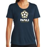 Ladies Syntrel Performance Navy Tee-Soccer Ball Design