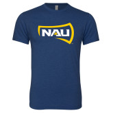 Next Level Vintage Navy Tri Blend Crew-NAU Primary Mark