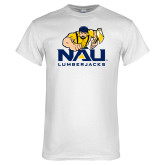 White T Shirt-NAU Lumberjacks with Louie