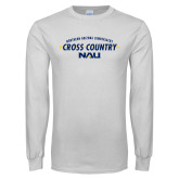 White Long Sleeve T Shirt-Cross Country Arrow Design