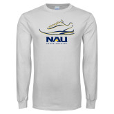 White Long Sleeve T Shirt-Cross Country Shoe Design