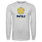 White Long Sleeve T Shirt-Soccer Ball Design