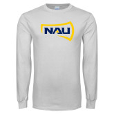 White Long Sleeve T Shirt-NAU Primary Mark