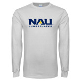 White Long Sleeve T Shirt-NAU Lumberjacks Stacked