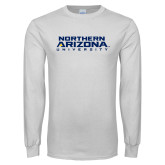 White Long Sleeve T Shirt-Northern Arizona University Stacked