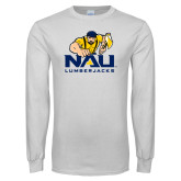 White Long Sleeve T Shirt-NAU Lumberjacks with Louie
