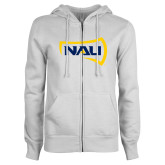 ENZA Ladies White Fleece Full Zip Hoodie-NAU Primary Mark