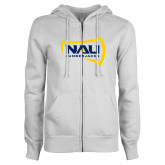 ENZA Ladies White Fleece Full Zip Hoodie-NAU Lumberjacks