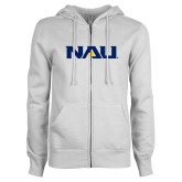ENZA Ladies White Fleece Full Zip Hoodie-NAU