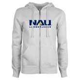 ENZA Ladies White Fleece Full Zip Hoodie-NAU Lumberjacks Stacked