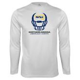 Syntrel Performance White Longsleeve Shirt-Football Helmet Design