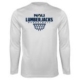 Syntrel Performance White Longsleeve Shirt-Basketball Net Design