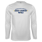Performance White Longsleeve Shirt-Cross Country Arrow Design