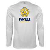 Syntrel Performance White Longsleeve Shirt-Soccer Ball Design