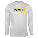 Performance White Longsleeve Shirt-NAU Primary Mark