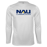 Performance White Longsleeve Shirt-NAU Lumberjacks Stacked