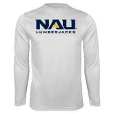 Syntrel Performance White Longsleeve Shirt-NAU Lumberjacks Stacked