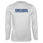 Performance White Longsleeve Shirt-Northern Arizona University Stacked
